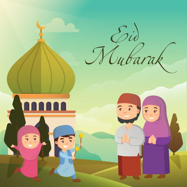 Happy family eid mubarak with mosque vector premium download happy family eid mubarak with mosque premium vector m4hsunfo