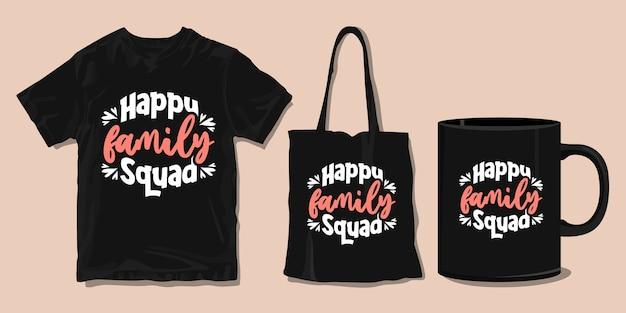 행복한 가족. 가족 티셔츠 타이포그래피 따옴표. 인쇄용 상품 프리미엄 벡터