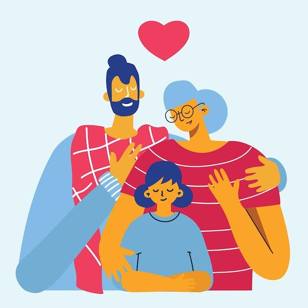 Счастливая семья. отец, мать и дочь вместе. Premium векторы