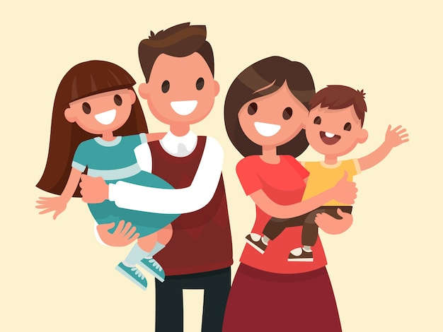 Happy family. father, mother, son and daughter. parents are keeping on the hands of their children. Premium Vector