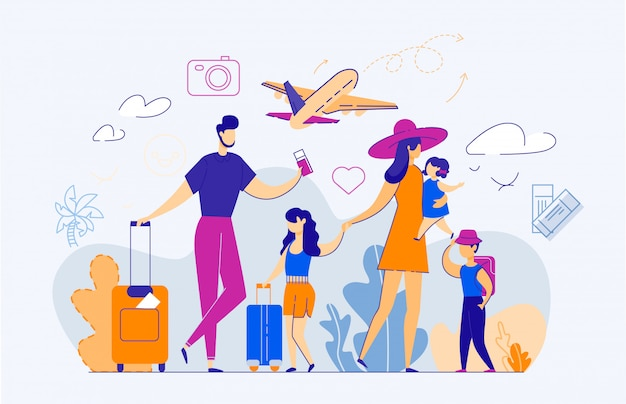 Happy family of five persons in airport. Premium Vector
