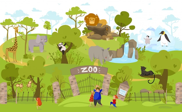 Happy family going to zoo, exotic animals cartoon characters, people illustration Premium Vector