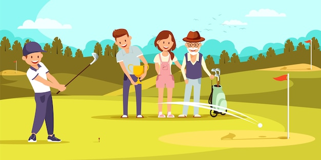 Happy family on golf field relaxing at golfclub. Premium Vector