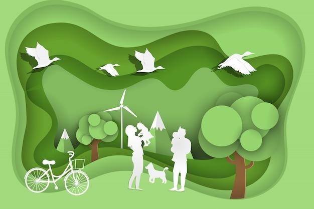 Happy family on green park Premium Vector