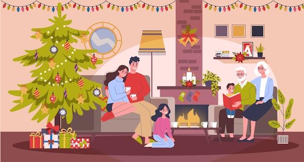 Счастливая семья весело провести время на праздновании рождества. домашняя вечеринка. новый год встречаем. интерьер гостиной. иллюстрация в мультяшном стиле Premium векторы