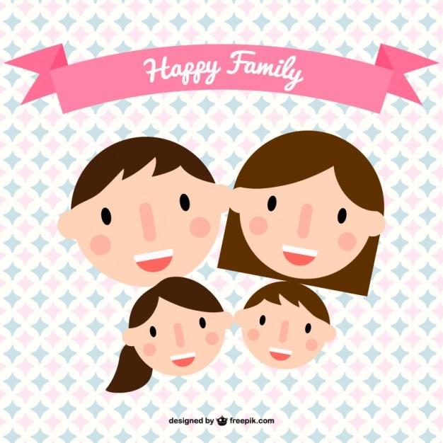 Happy family heads