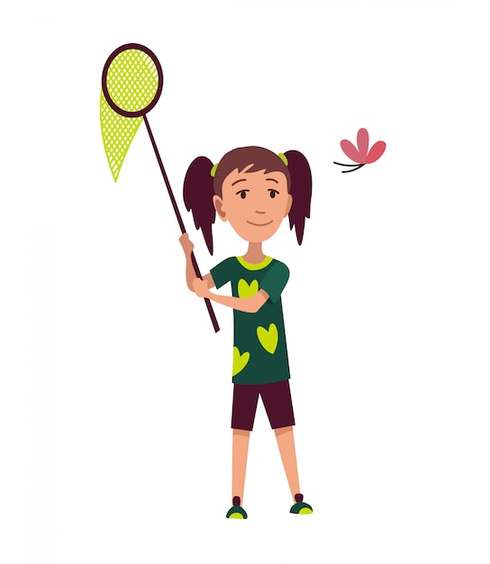 Happy family hiking. adventure  trekking outdoor concept. young girl trying to catch a butterfly with a net. recreation and active adventure tourism illustration Premium Vector