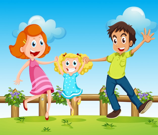 A happy family above the hills with a fence Free Vector