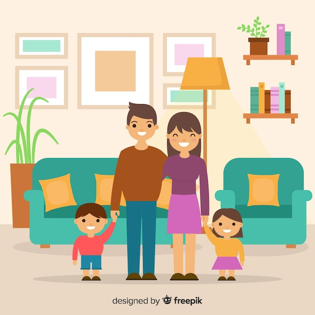 Happy family at home with flat design Free Vector