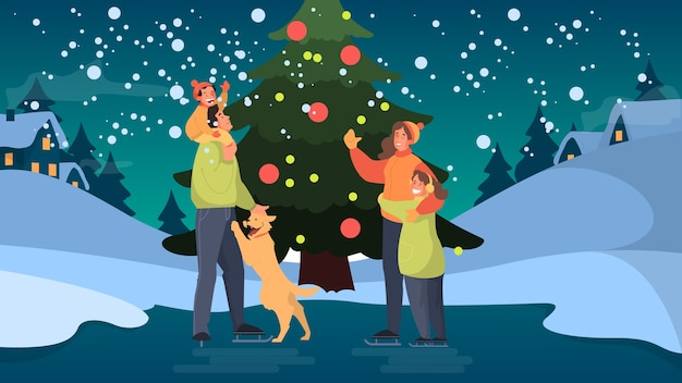 Happy family on the ice rink. winter skating, outdoor activity. people at the tree with chidren.   illustration Premium Vector