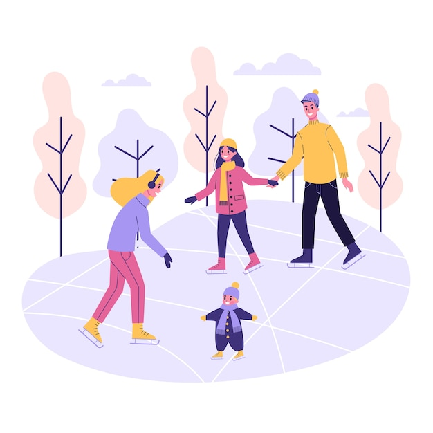 Happy family on the ice rink. winter skating, outdoor activity. people with chidren.   illustration Premium Vector