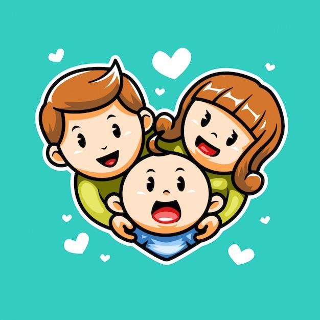 Happy family icon Premium Vector