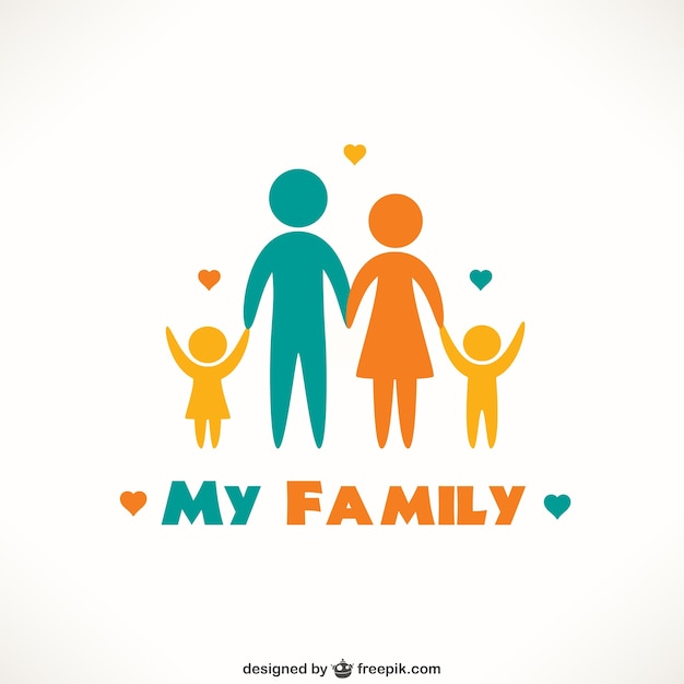 Happy family icons Free Vector