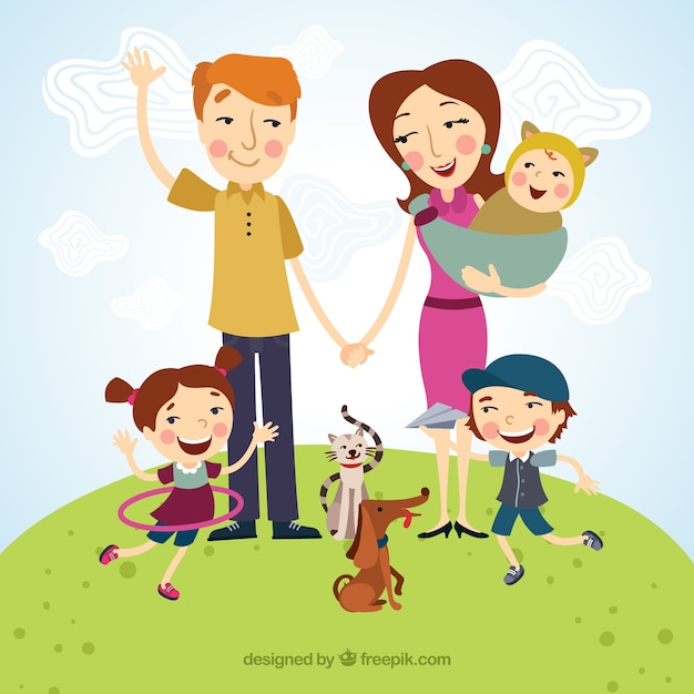 Happy family illustration Free Vector