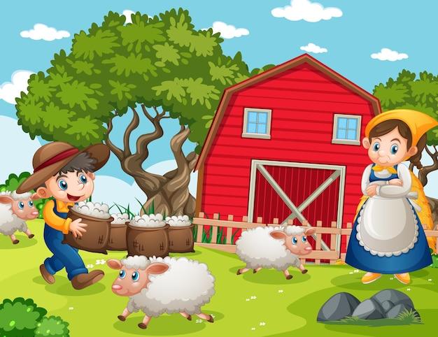 Счастливая семья на ферме в мультяшном стиле Бесплатные векторы