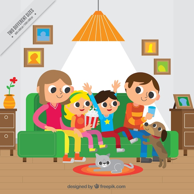 Happy Family In Living Room Background Free Vector