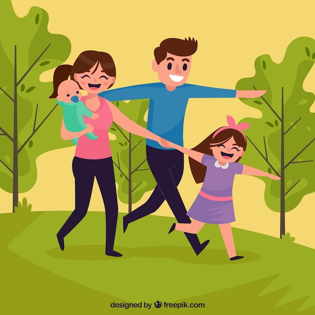 Happy family in the park with flat\ design