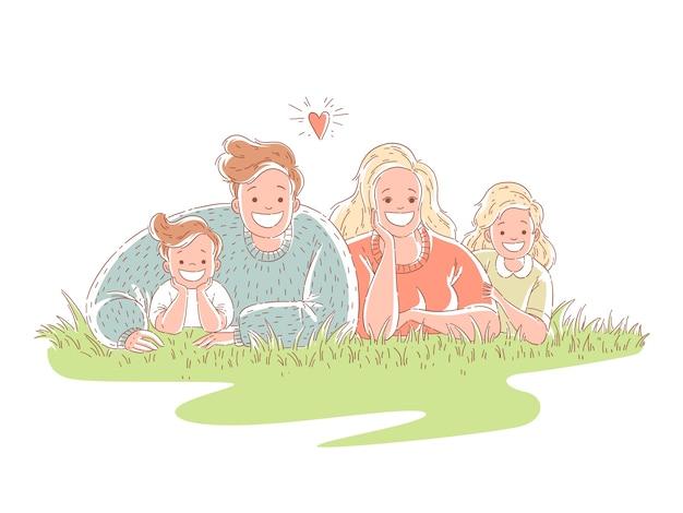 Счастливая семья лежит на траве. родители проводят время с детьми. Premium векторы