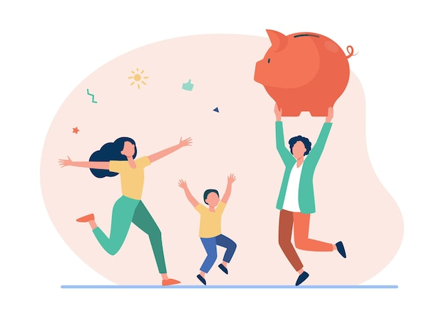 Happy family jumping with huge piggybank. cartoon illustration Free Vector