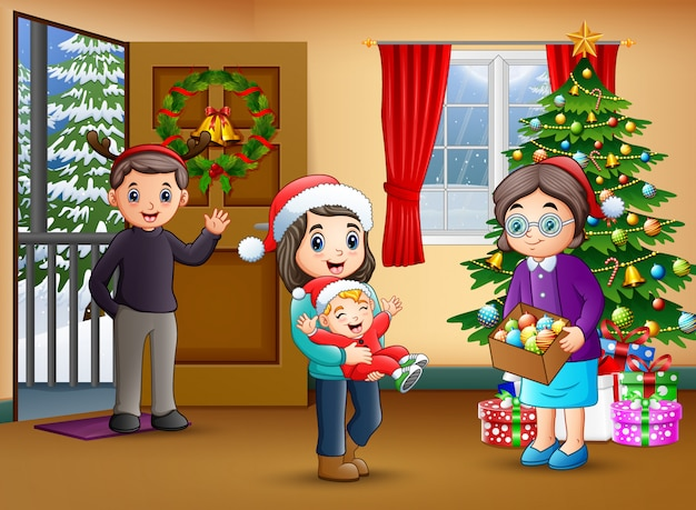 Happy family in the living room with christmas tree Premium Vector