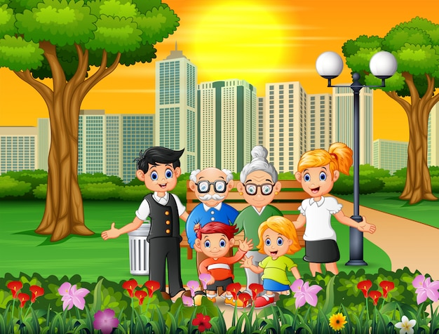 Happy family members in the city park Premium Vector