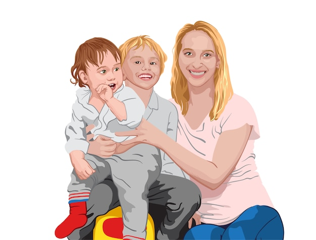 Счастливая семья. мама обнимает двух своих сыновей. улыбающиеся дети и мать Premium векторы