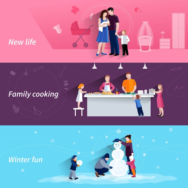 Happy family moments 3 flat banners set with cooking and making snowman together abstract isolated vector illustration Free Vector