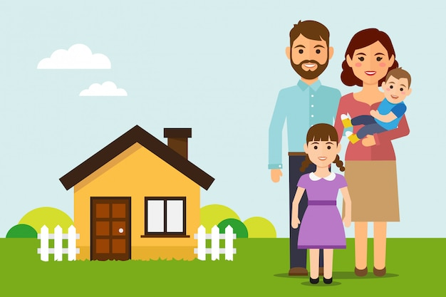Happy family move into a new house Premium Vector