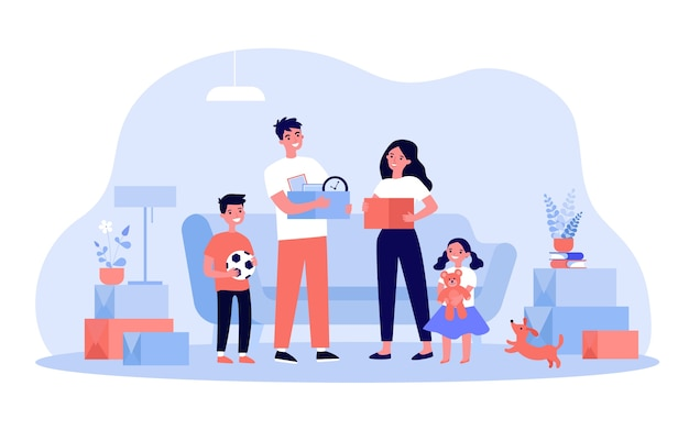 Happy family moving to new home or apartment   illustration. cartoon young mother, father and children holding boxes with stuff. interior  and buying new house concept Premium Vector