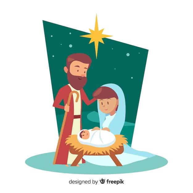 Happy family nativity background Free Vector