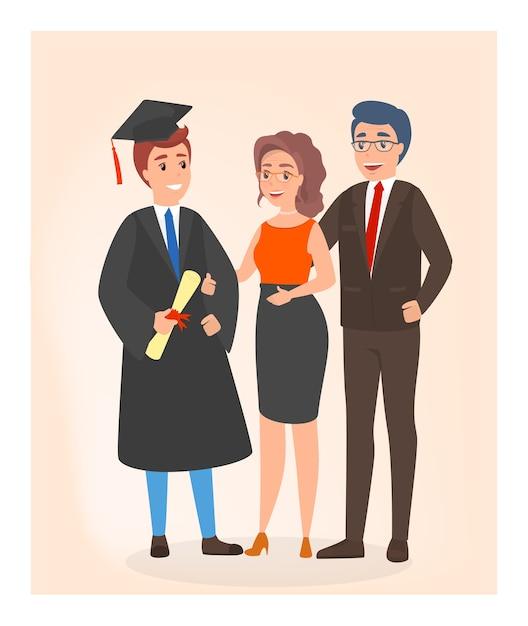 卒業式の日に幸せな家族。若い学生 Premiumベクター