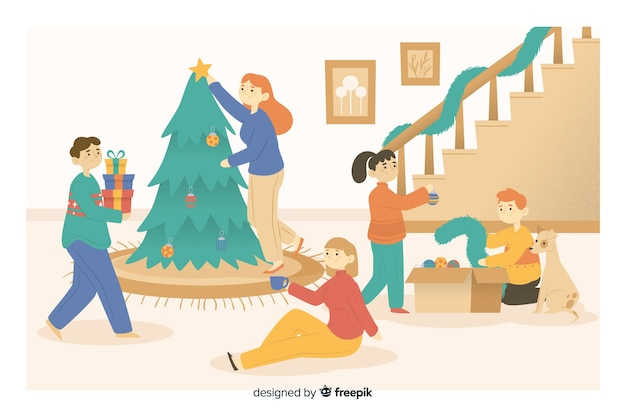 Happy family opening gifts around christmas tree Free Vector