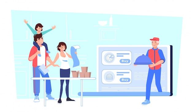 幸せな家族の注文がオンラインでレストランの食べ物を買う Premiumベクター