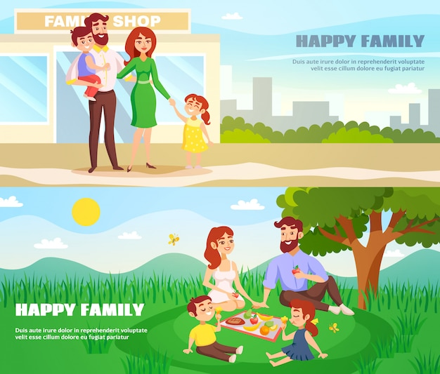Happy family outdoor horizontal banners Free Vector