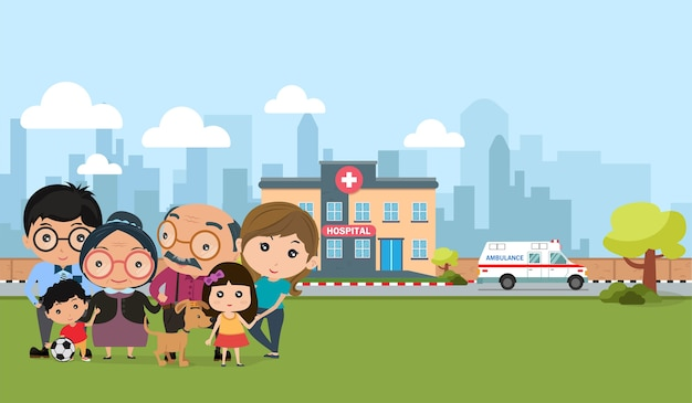 Happy family outdoor. people health Premium Vector