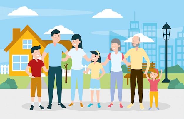 Famiglia felice all'aperto Vettore gratuito