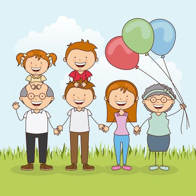Счастливая семья на открытом воздухе Бесплатные векторы