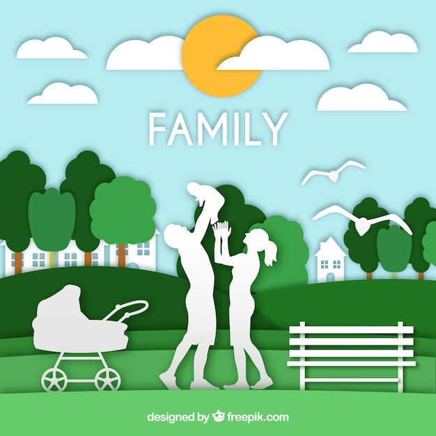 Happy family in paper art style Free Vector
