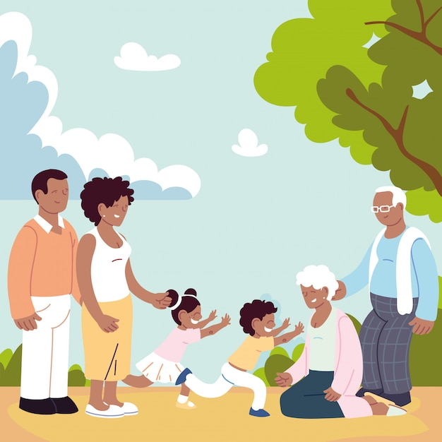 Happy family, parents, grandparents and child Premium Vector