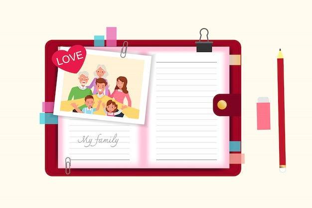 Happy family people mother, father, grandparents and children together character  . Premium Vector
