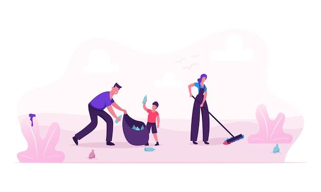 Счастливая семья собирает мусор на пляже или в городском парке во время уборки. мультфильм плоский рисунок Premium векторы