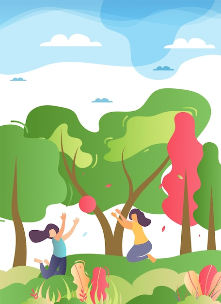 Happy family play ball in forest illustration Premium Vector