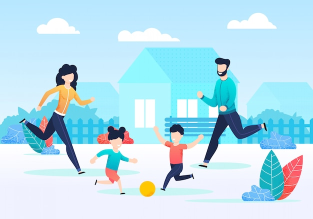 Happy family playing ball together on backyard Premium Vector