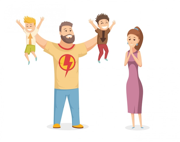 Happy family portrait. happy family gesturing with cheerful smile Premium Vector
