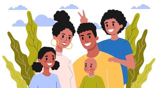 幸せな家族の肖像画。ママとパパ、子供とその兄弟。図 Premiumベクター