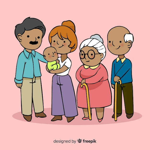 Happy family portrait, vectorized character design Free Vector