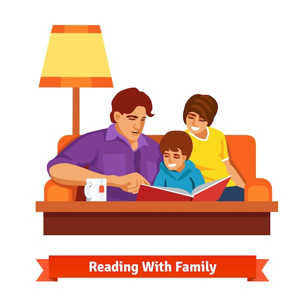happy family reading together mother father son vector free