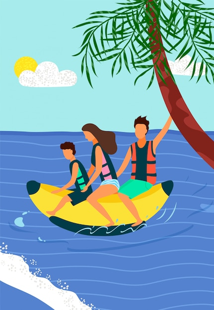 Happy family riding on inflatable banana on sea Premium Vector