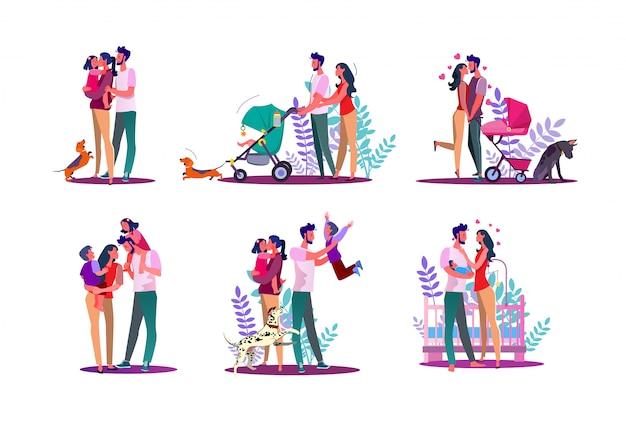 Set famiglia felice Vettore gratuito