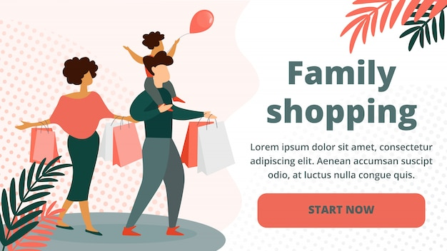 Happy family shopping. father, mother, little kid Premium Vector
